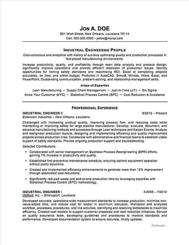 Industrial Engineering Resume Sample Professional Resume Examples Topresume