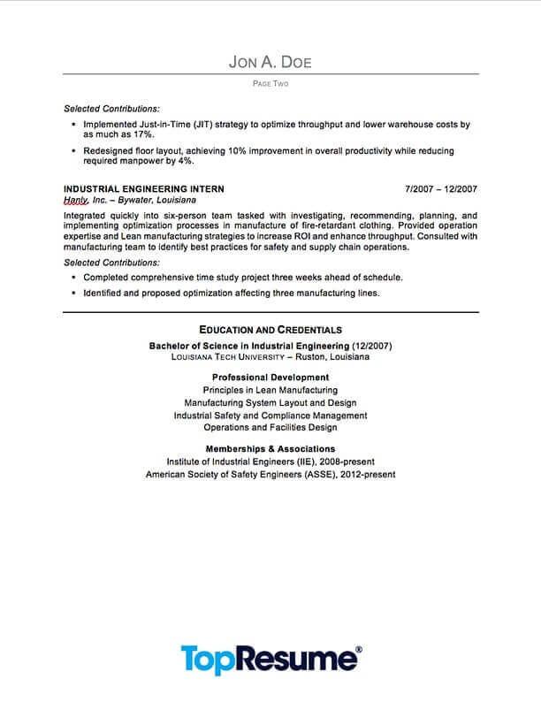 Industrial Engineering Resume Sample Professional Resume