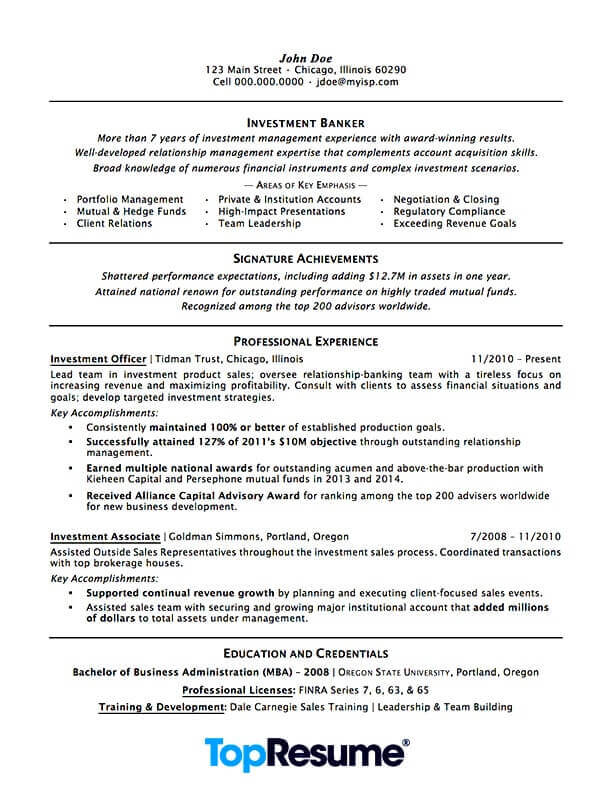 Executive summary investment banking resume hightower investments ft myers