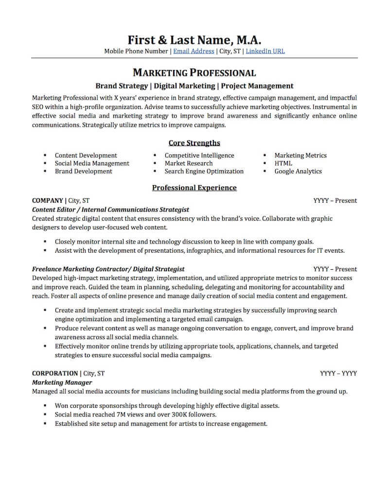 Advertising Marketing Resume Sample Professional Resume