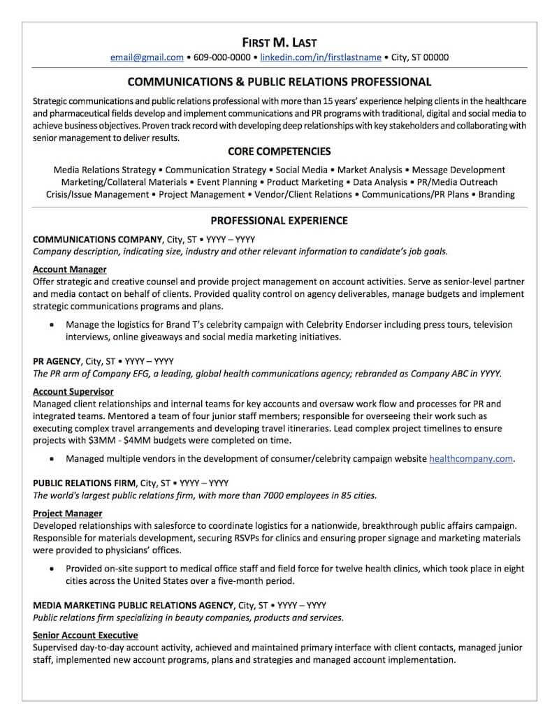 Public Relations Resume Sample Professional Resume Examples Topresume