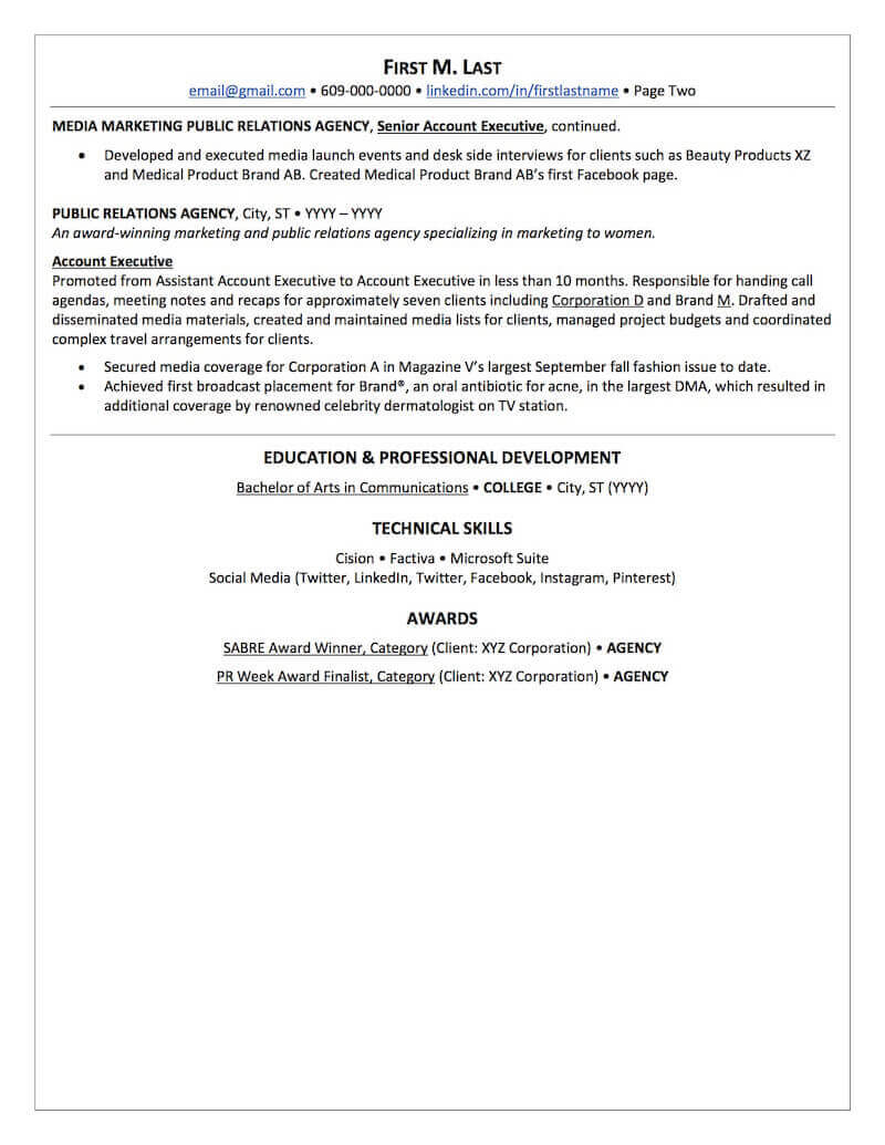 Public Relations Resume Sample Professional Resume Examples