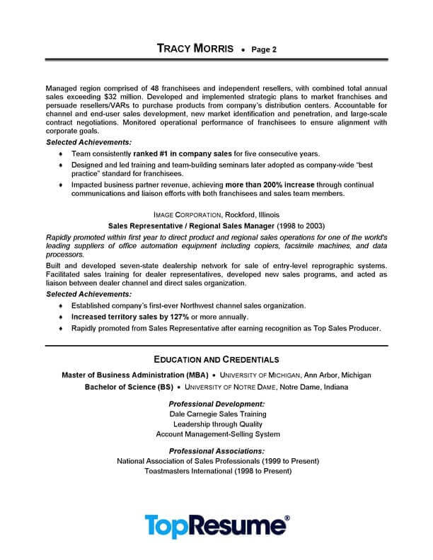 Sales Manager Resume Sample Professional Resume Examples Topresume
